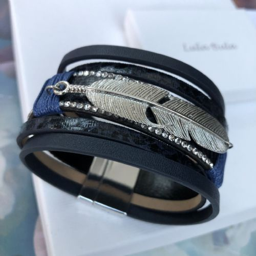 Feather faux leather bracelet